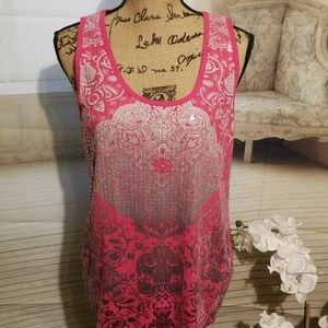 Absolutely Famous hotpink & silver paisely tanktop